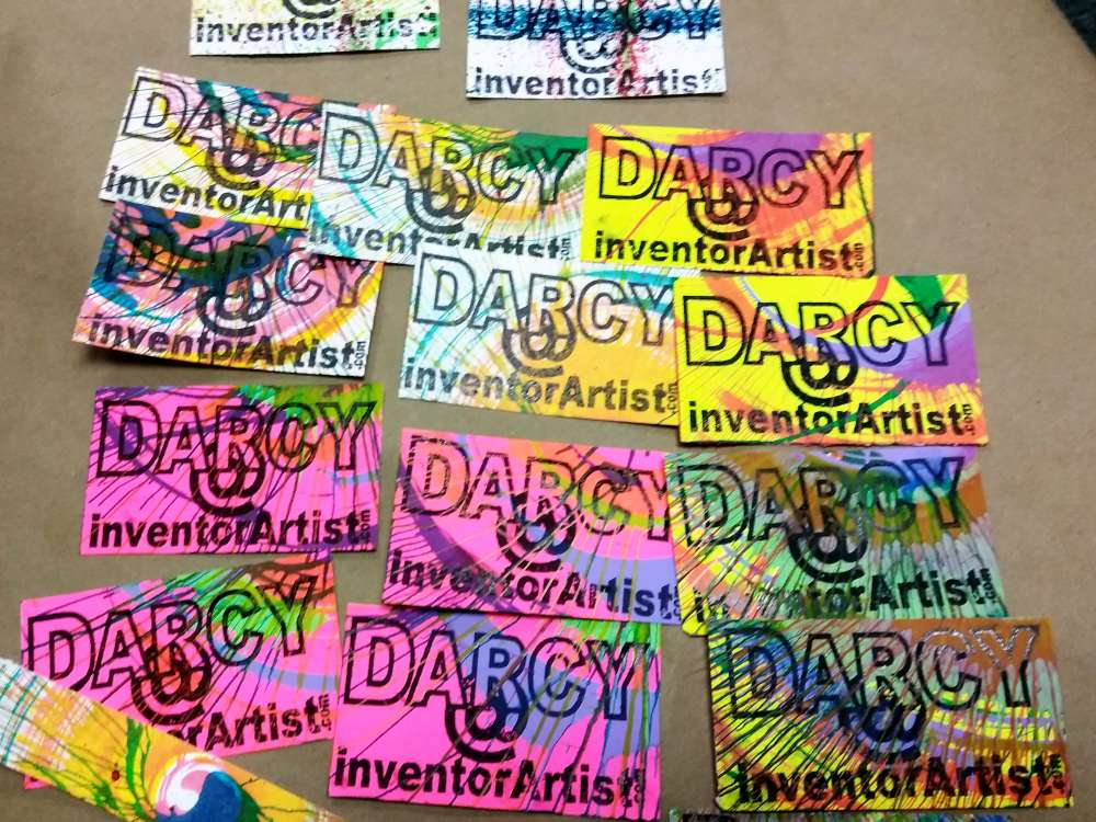 Inventorartist rubber stamp business cards i also turn cutoffs from card making and other waste to make cards also experiments watercolor paper acrylic ink fountain pen ink and acrylic paint colourmoves